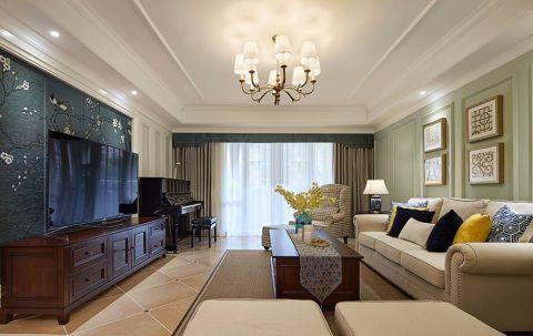 客厅白色美式风格装饰图片
