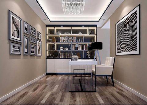 书房书桌现代简约风格装潢效果图