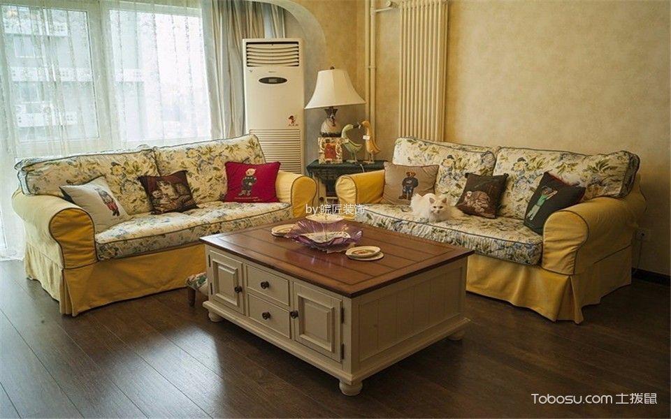 客厅咖啡色地板砖美式风格装饰设计图片