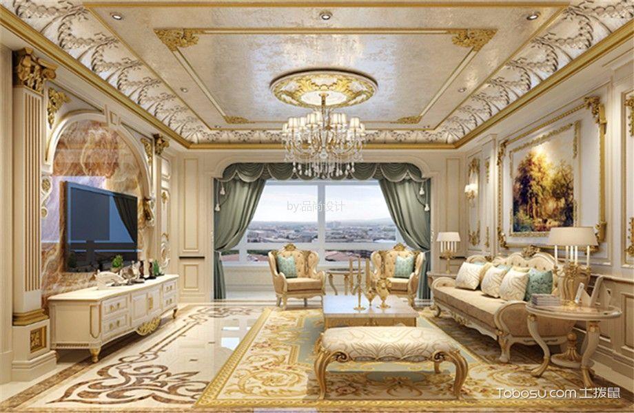客厅白色电视柜法式风格装潢效果图