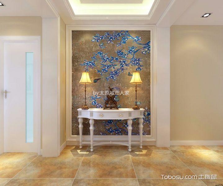 玄关黄色地砖美式风格装饰效果图
