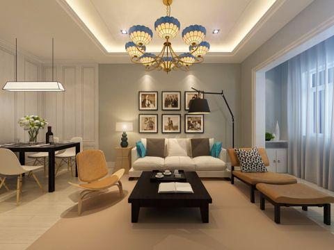 美式风格80平米三室两厅新房装修效果图