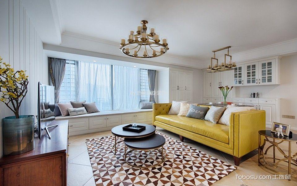 客厅 飘窗_美式风格110平米公寓新房装修效果图