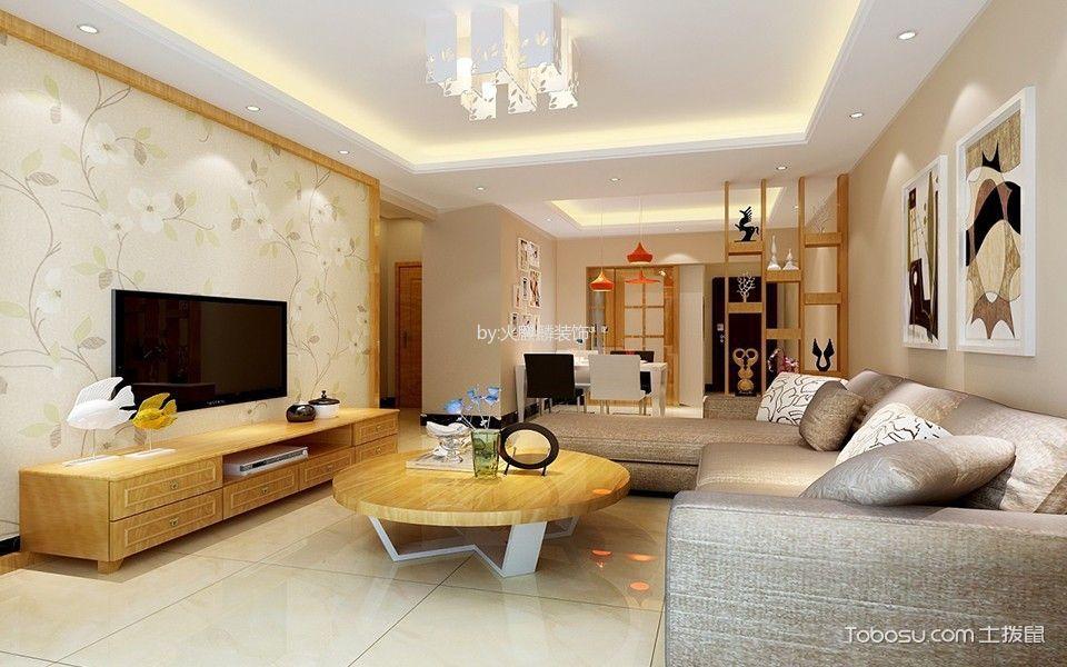 客厅 电视柜_现代简约风格120平米两室两厅新房装修效果图