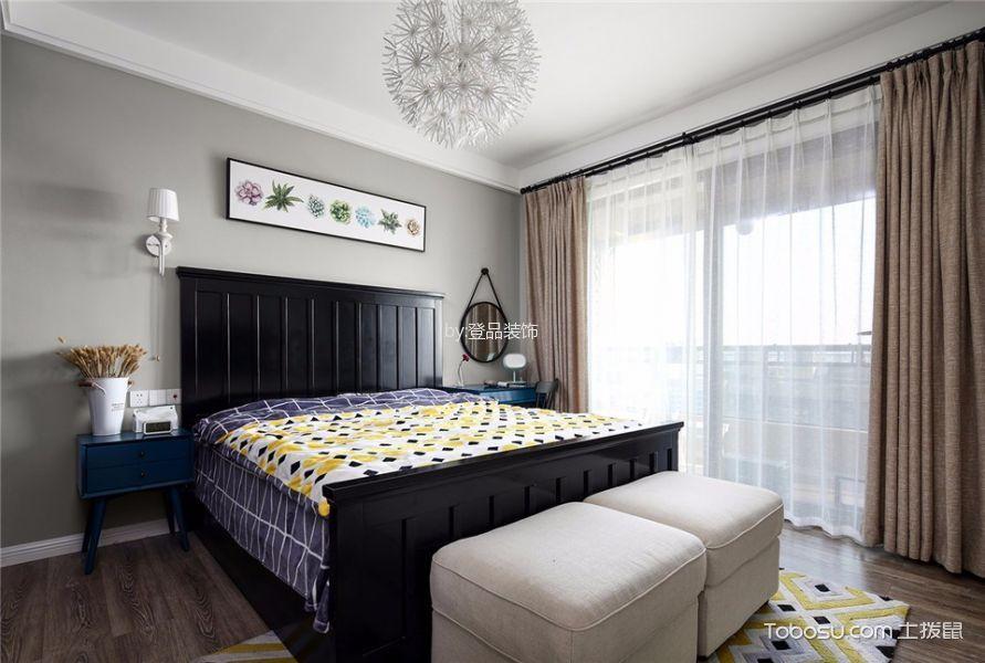 卧室黑色床北欧风格效果图