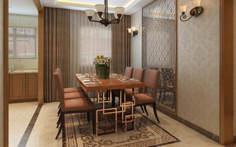 餐厅窗帘新中式风格装饰设计图片