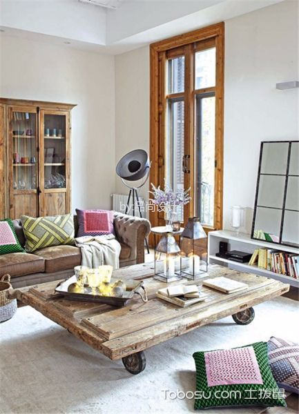 客厅咖啡色茶几北欧风格装修图片