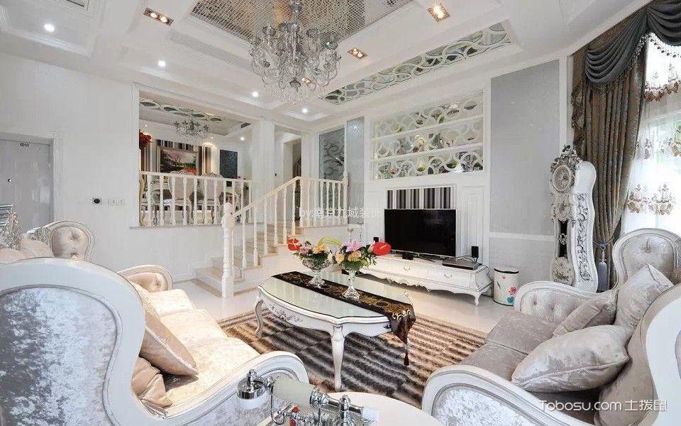 客厅白色茶几欧式风格装潢图片