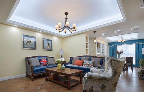 美式风格95平米三室两厅新房装修效果图