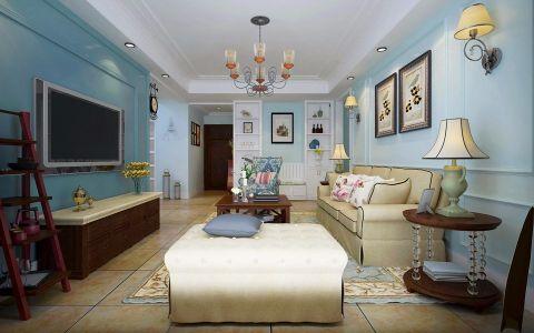 美式风格117平米三室两厅新房装修效果图