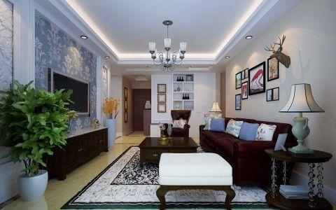 美式风格114平米三室两厅新房装修效果图