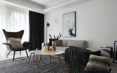 客厅白色茶几北欧风格效果图