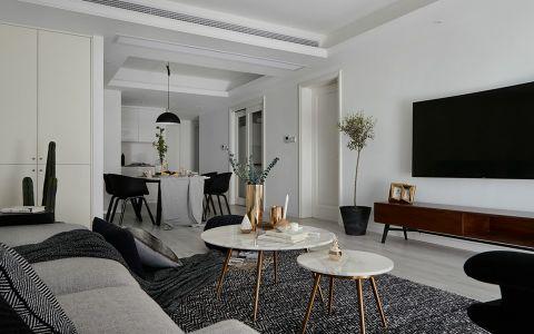 客厅咖啡色电视柜北欧风格装修效果图