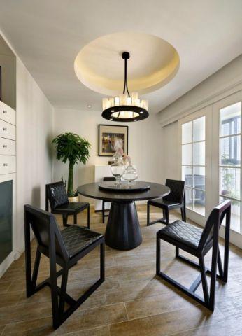 餐厅黑色餐桌现代简约风格装潢效果图