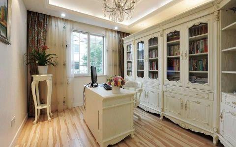 书房白色书桌欧式风格装修设计图片