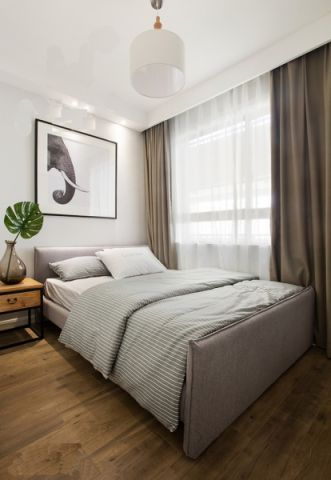 卧室灰色床简约风格装饰设计图片