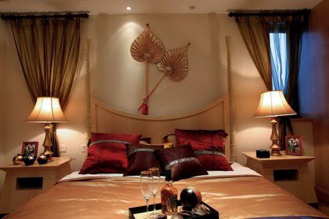 卧室床东南亚风格装潢效果图