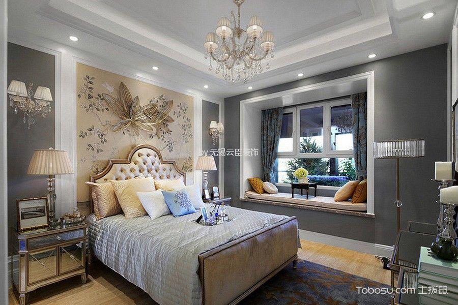 卧室灰色飘窗法式风格装饰效果图