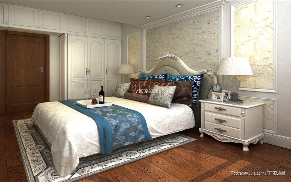 卧室 床头柜_欧式风格120平米套房室内装修效果图