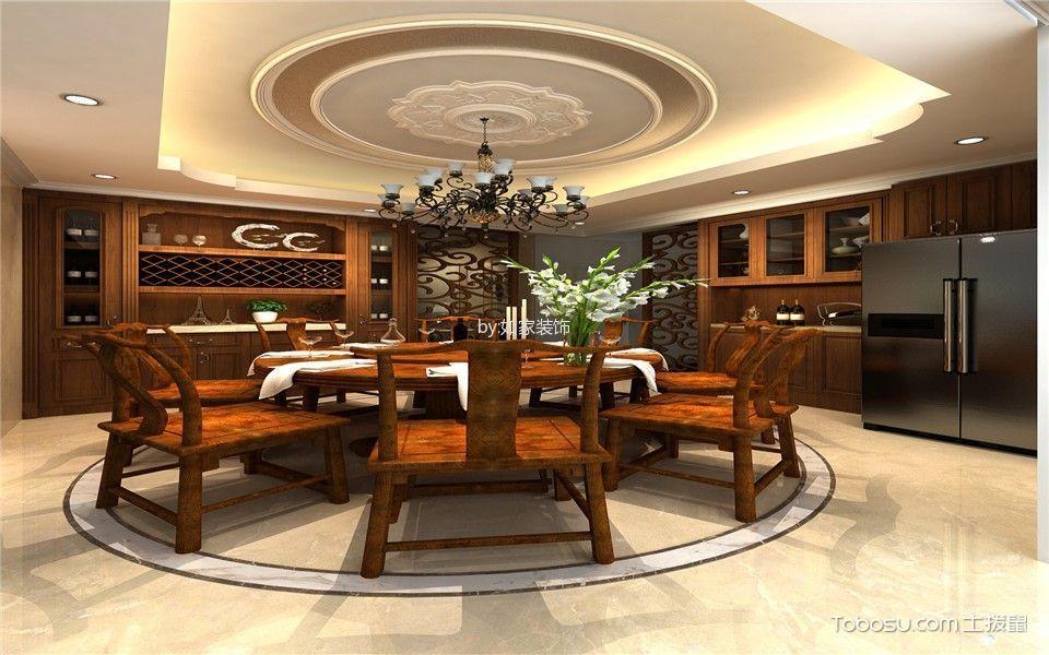 餐厅咖啡色餐桌欧式风格装修设计图片