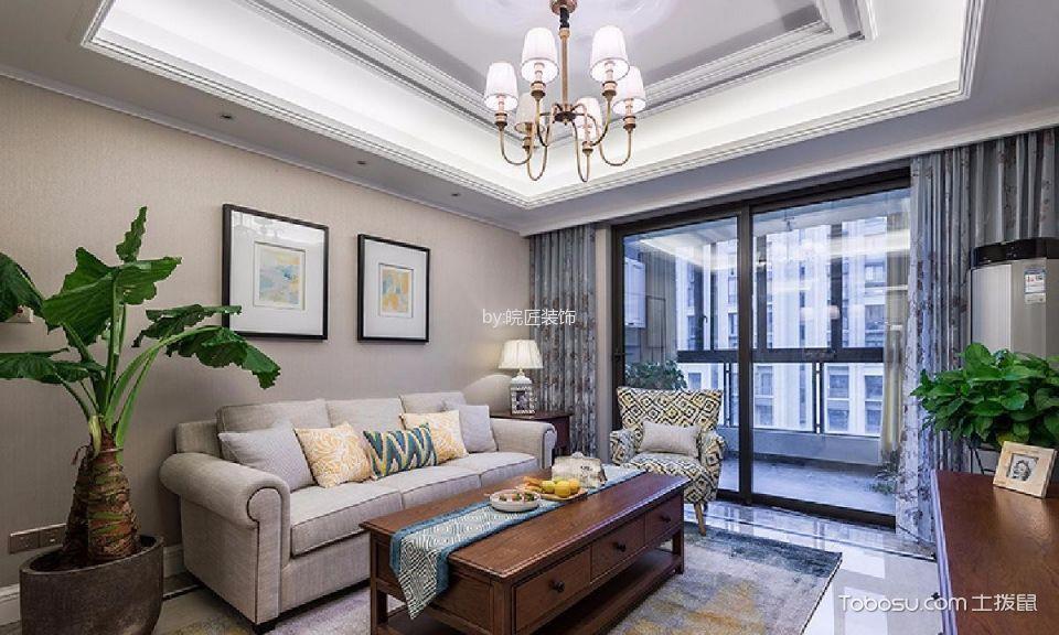 美式风格80平米三室两厅新房效果图