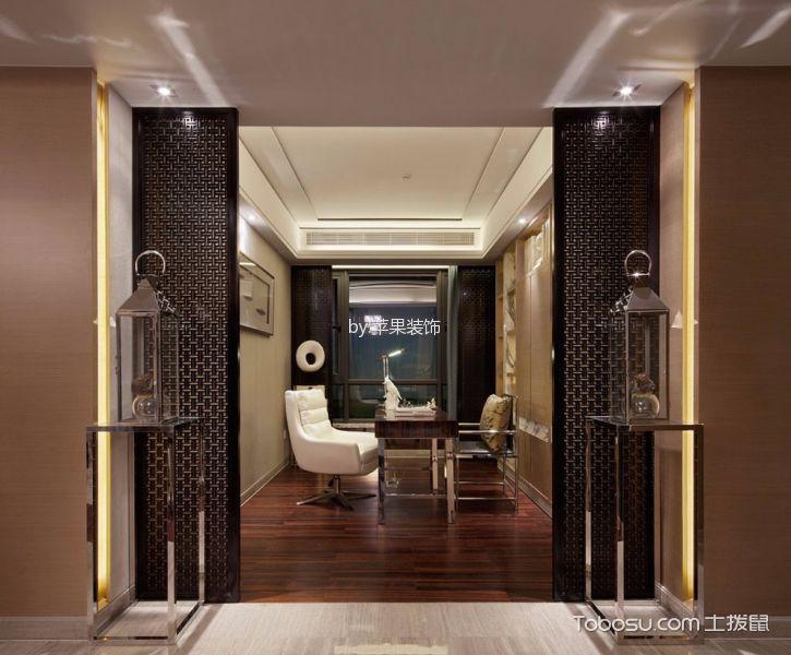 书房咖啡色地板砖新中式风格装修设计图片