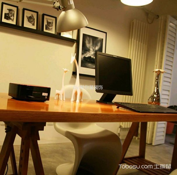 书房咖啡色书桌北欧风格装饰图片