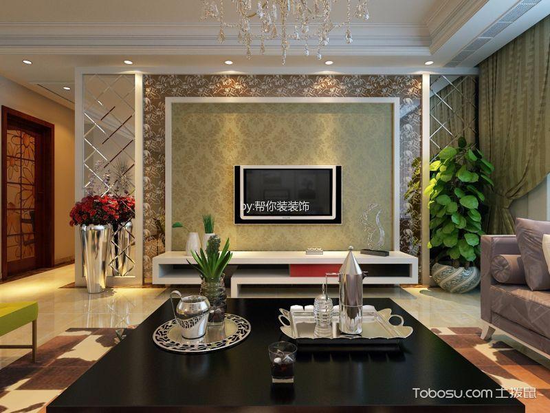 客厅 电视柜_现代简约风格90平米两室两厅室内装修效果图