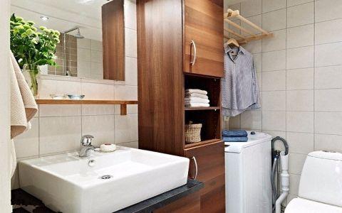 卫生间咖啡色洗漱台简约风格装饰设计图片