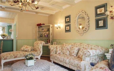 客厅沙发欧式田园风格装修图片