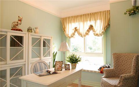 书房窗帘欧式田园风格装潢图片