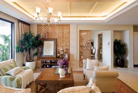 客厅茶几新中式风格装潢效果图