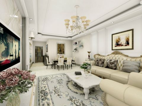 客厅吊顶简欧风格装修设计图片