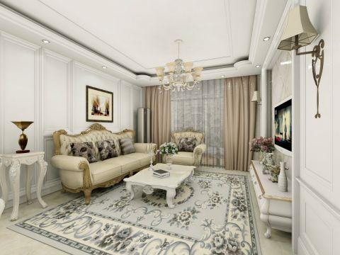 简欧风格100平米公寓室内装修效果图