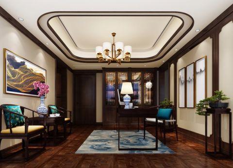 书房吊顶新中式风格装修图片