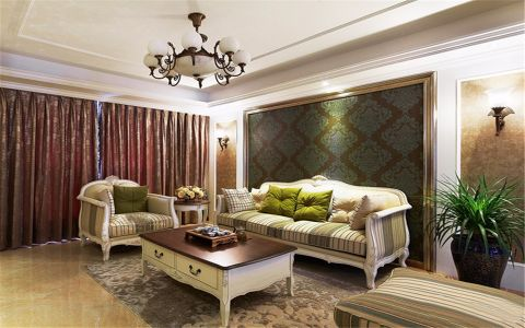 美式风格93平米三室两厅新房装修效果图