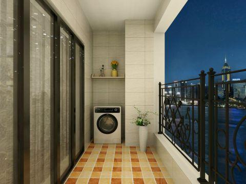 阳台推拉门简欧风格装潢图片