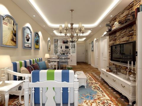 地中海风格90平米三室两厅新房装修效果图