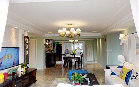 美式风格128平米三室两厅新房装修效果图