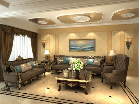 客厅黄色吊顶欧式风格装饰图片