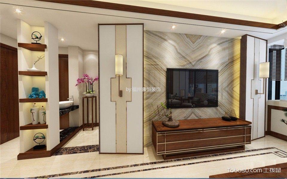 客厅咖啡色电视柜新中式风格效果图