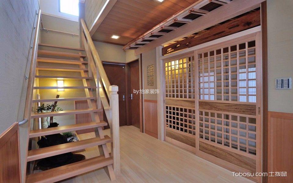 玄关咖啡色楼梯日式风格装饰设计图片