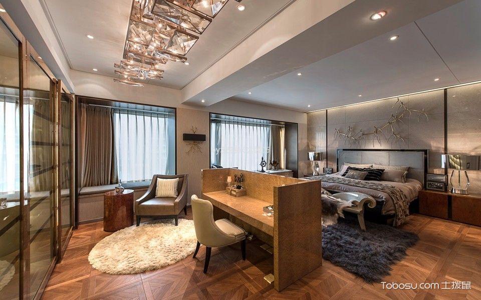 卧室咖啡色地板砖混搭风格装修设计图片