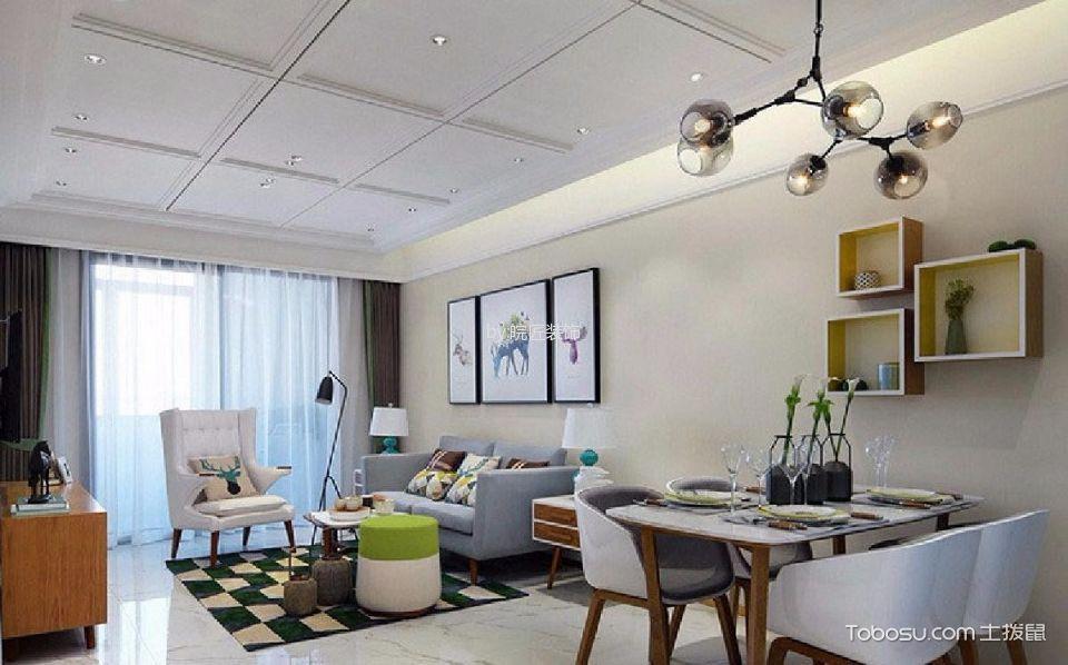鑫都华庭90㎡现代简约风格三居室装修效果图