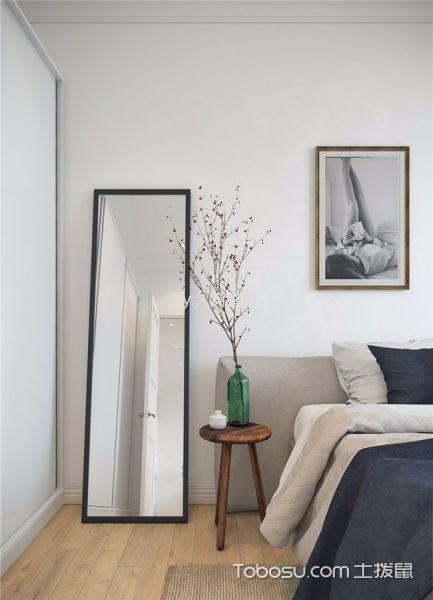 卧室咖啡色地板砖北欧风格装饰图片
