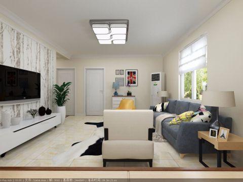 客厅白色电视柜简约风格装饰设计图片