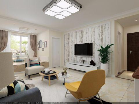 客厅咖啡色窗帘简约风格装潢设计图片