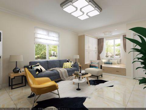 客厅白色窗帘简约风格效果图