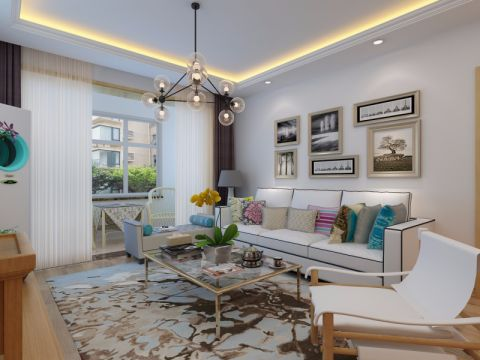 客厅白色照片墙北欧风格装潢设计图片