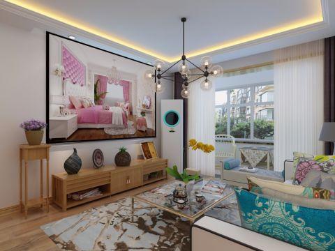 客厅咖啡色窗帘北欧风格效果图